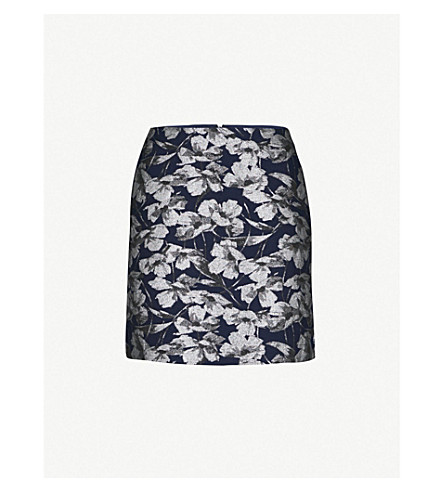 WAREHOUSE Floral jacquard A-line skirt (None