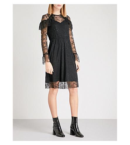 WAREHOUSE Ruffled Chantilly lace mini dress (Black