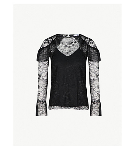 WAREHOUSE Chantilly frilled lace long-sleeved top (Black