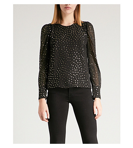WAREHOUSE Glitter-detail chiffon top (Black