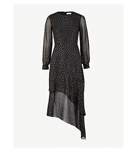 WAREHOUSE Metallic spotted chiffon dress (Black