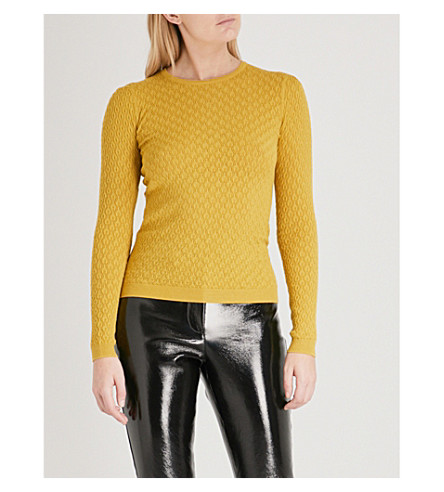 WAREHOUSE Wave knitted jumper (Yellow