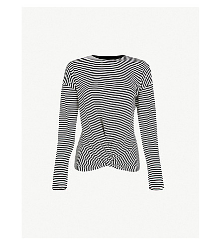 WAREHOUSE Knot-detail striped woven top (Black