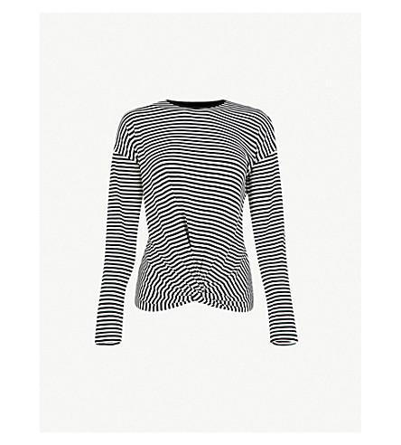 WAREHOUSE 结细节条纹纺织上衣 (黑色