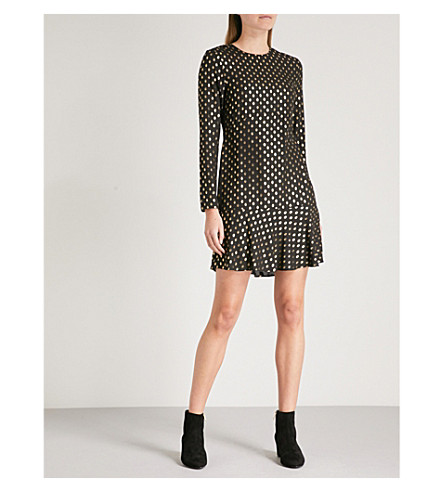 WAREHOUSE Metallic spotted crepe dress (Black