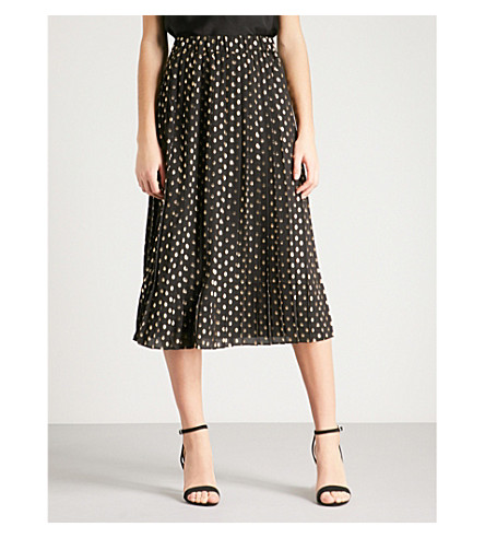 WAREHOUSE 金属斑点-细节褶裥裙子 (黑色