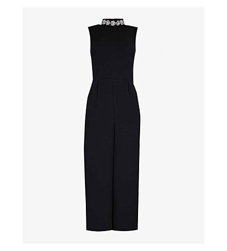 WAREHOUSE Embellished-detail crepe jumpsuit (Black