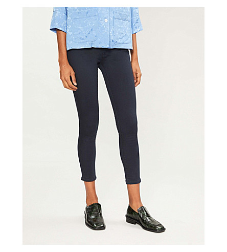 WAREHOUSE Crop skinny mid-rise jeans (Navy
