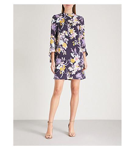 WAREHOUSE Orchid flared-cuff crepe dress (Purple