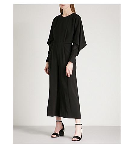 WAREHOUSE Split-sleeve crepe jumpsuit (Black
