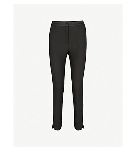 WAREHOUSE 侧条纹修身版型锥形绉裤子 (黑色