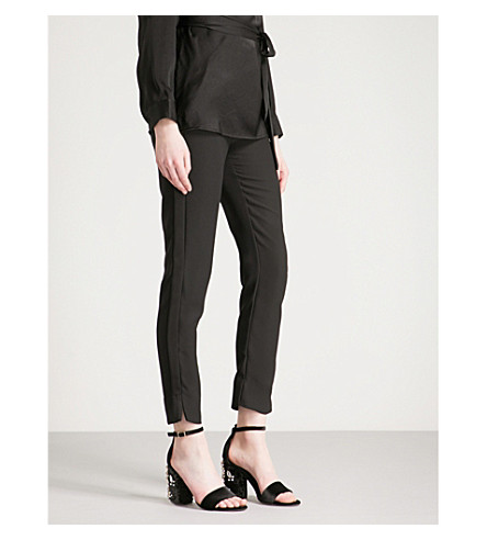 WAREHOUSE Side stripe slim-fit tapered crepe trousers (Black