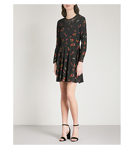 WAREHOUSE Snowdrop floral-lace woven dress (Black