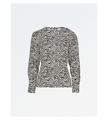 WAREHOUSE Zebra-print crepe blouse (None