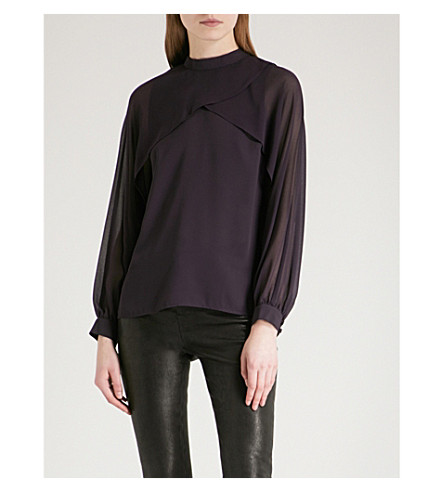 WAREHOUSE Layered-detail crepe top (Purple