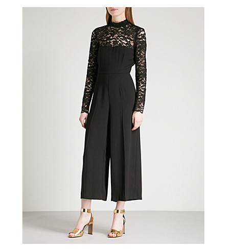 WAREHOUSE Wide-leg satin and lace jumpsuit (Black