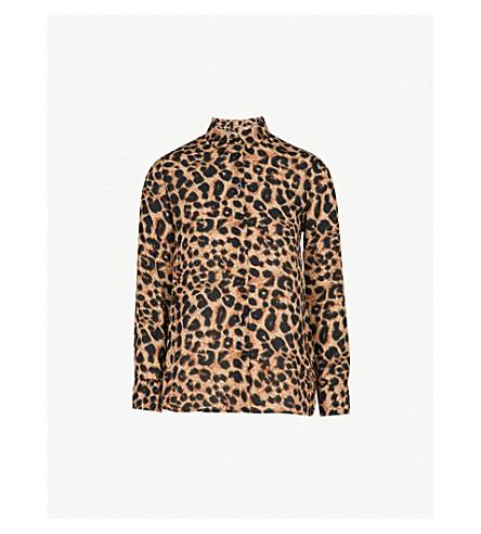 WAREHOUSE Leopard-print chiffon shirt (None
