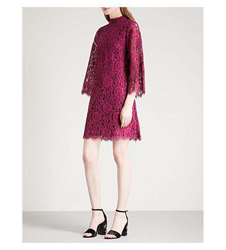 WAREHOUSE Eyelash-trim lace dress (Red
