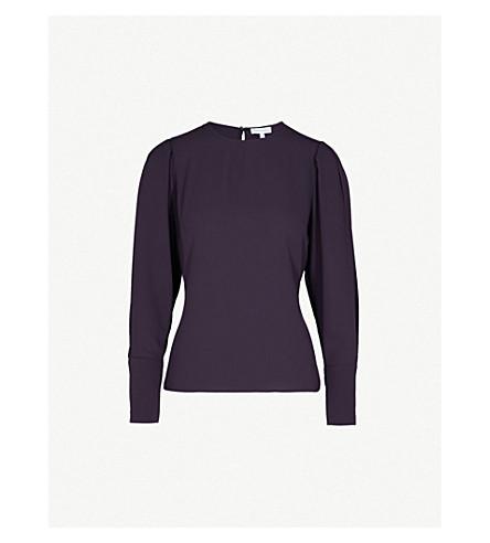 WAREHOUSE Puff-sleeve crepe top (Purple