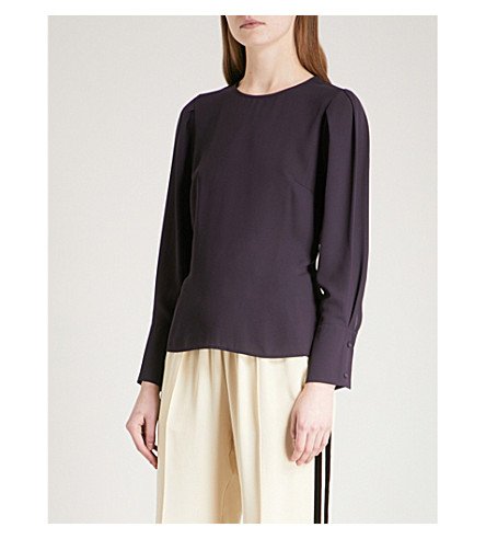 WAREHOUSE Puff-sleeve crepe top (Purple