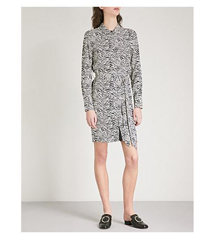 WAREHOUSE Zebra-print crepe mini shirt dress (None