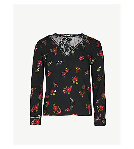 WAREHOUSE Floral-print crepe blouse (Black