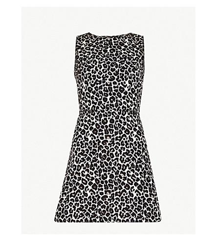 WAREHOUSE Leopard-print jacquard mini dress (None