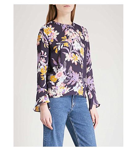 WAREHOUSE Floral-print crepe top (Navy