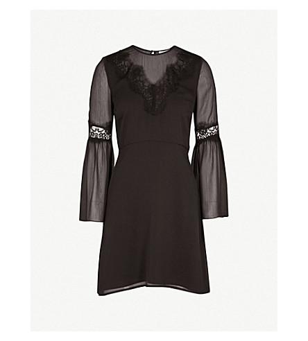 WAREHOUSE Lace-panel chiffon dress (Black