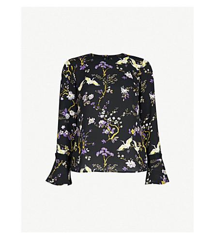 WAREHOUSE Floral-print crepe blouse (Black