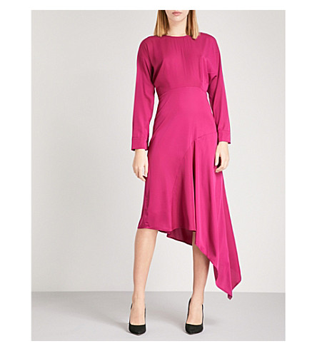 WAREHOUSE Asymmetric satin midi dress (Pink