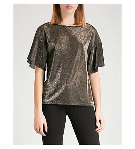 WAREHOUSE Metallic woven top (Gold