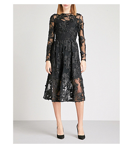 WAREHOUSE Embroidered tulle midi dress (Black