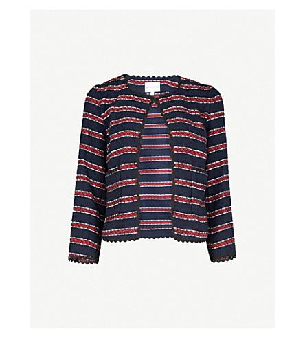 WAREHOUSE Bridget striped tweed jacket (Blue
