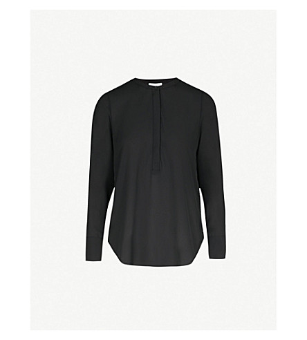 WAREHOUSE Button Side crepe blouse (Black