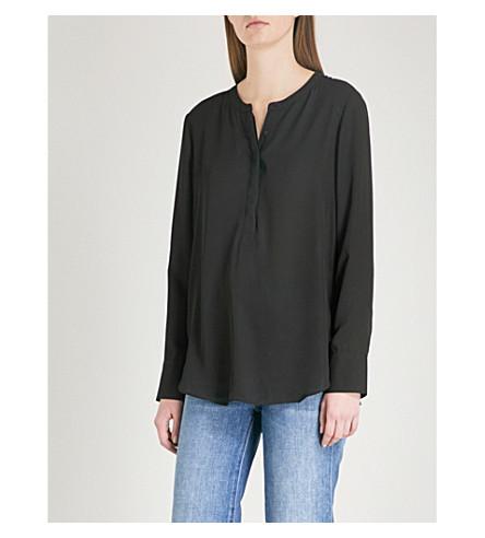 WAREHOUSE Button Side crepe blouse (Black