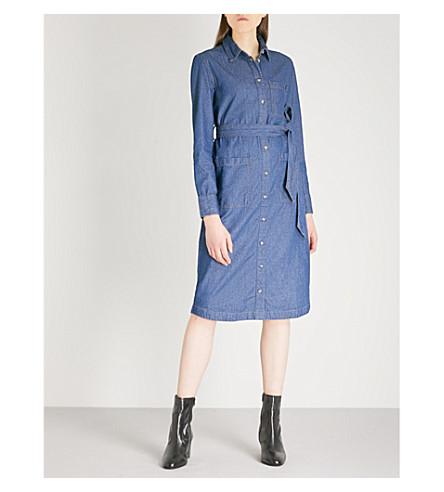 WAREHOUSE Belted denim shirt dress (Blue
