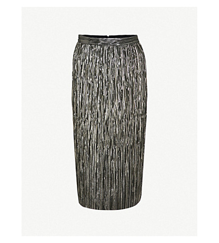 WAREHOUSE Metallic pleated skirt (Gold