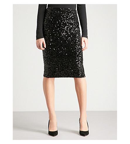 WAREHOUSE High-rise sequinned velvet midi skirt (Black