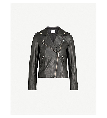 WAREHOUSE Leather biker jacket (Black