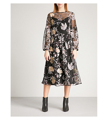 WAREHOUSE Violet floral-embroidered mesh dress (None