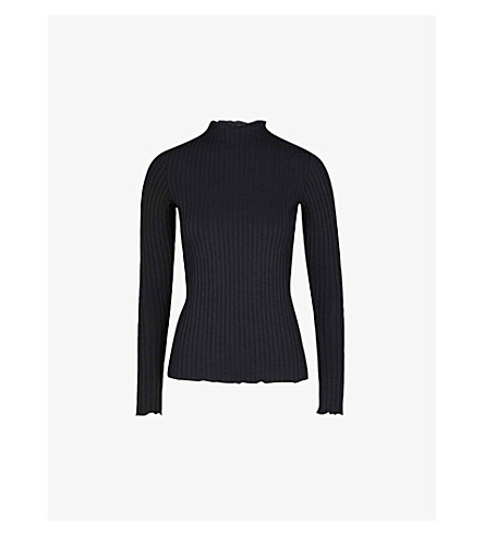 WAREHOUSE Frilled-trim knitted top (Black