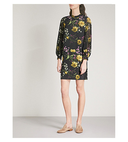 WAREHOUSE Floral-print woven mini dress (Black
