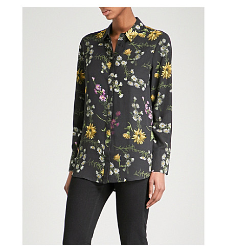 WAREHOUSE Dutch floral-print chiffon blouse (Black