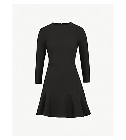 WAREHOUSE Peplum-hem crepe dress (Black