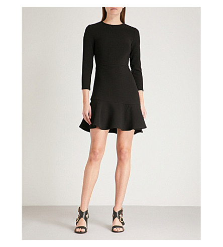 WAREHOUSE Peplum-hem crepe dress (Black