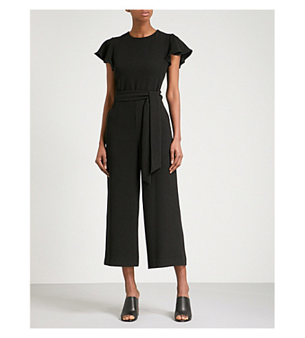 WAREHOUSE Frill-sleeve crepe jumpsuit (Black