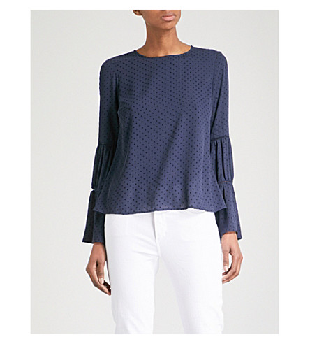 WAREHOUSE Dobby dotted crepe top (Navy