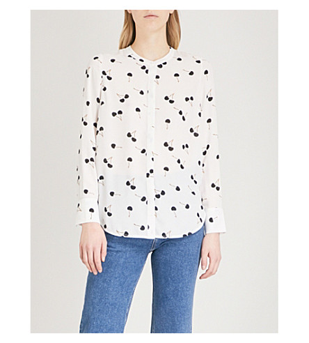 WAREHOUSE Cherry-print chiffon blouse (Cream