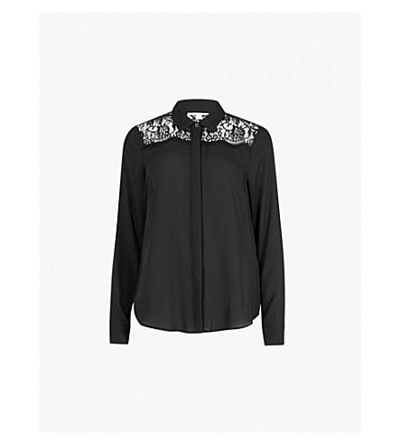 WAREHOUSE Lace-trim crepe shirt (Black